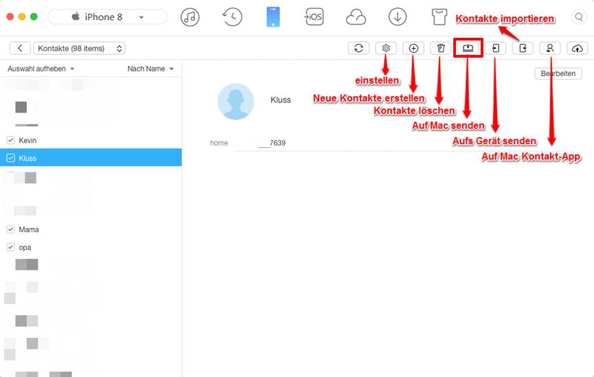 iPhone Kontakte zum Mac exportieren – Schritt 3