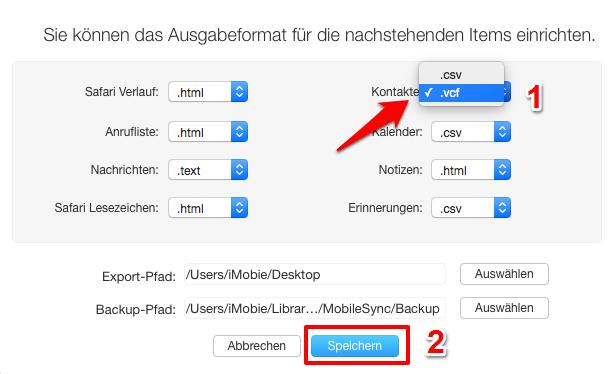 Kontakte-Format selbst auswählen