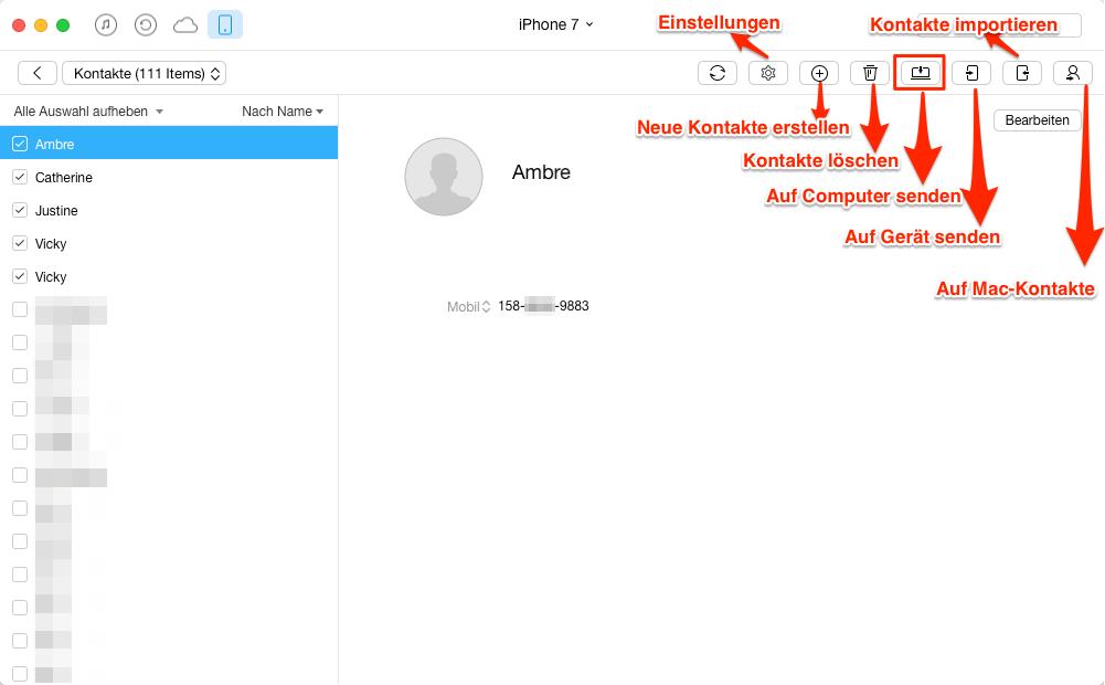 Kontakte vom iPhone 7 auf Mac selektiv übertragen – Schritt 4