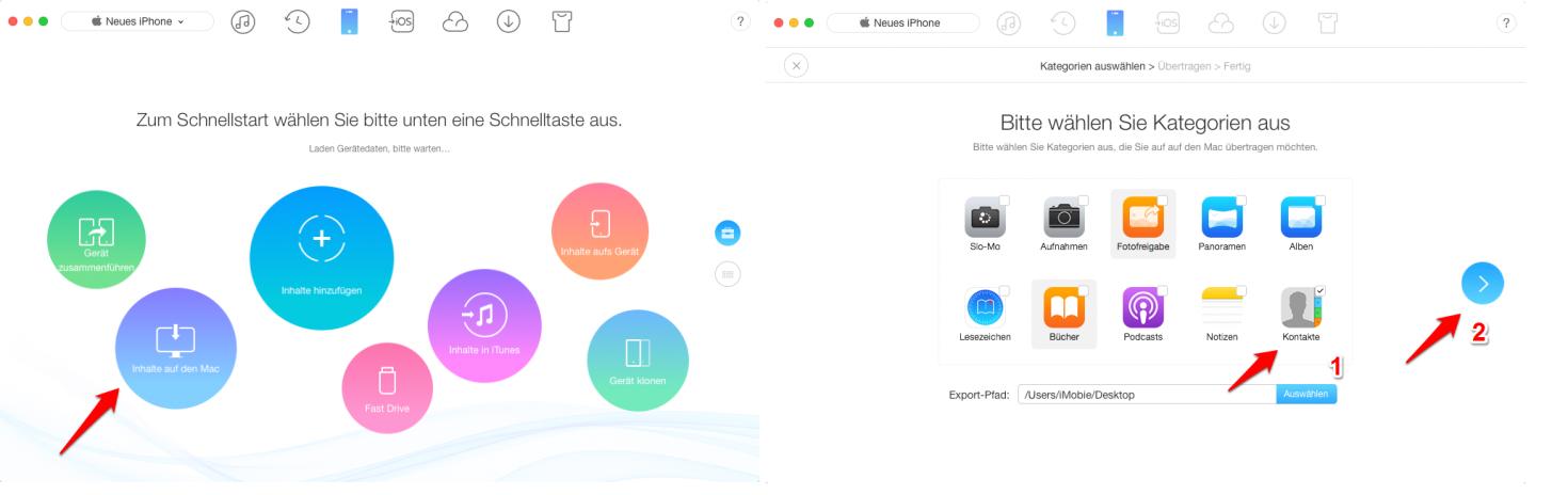 Alle Kontakte vom iPhone auf Mac mit einem Klick