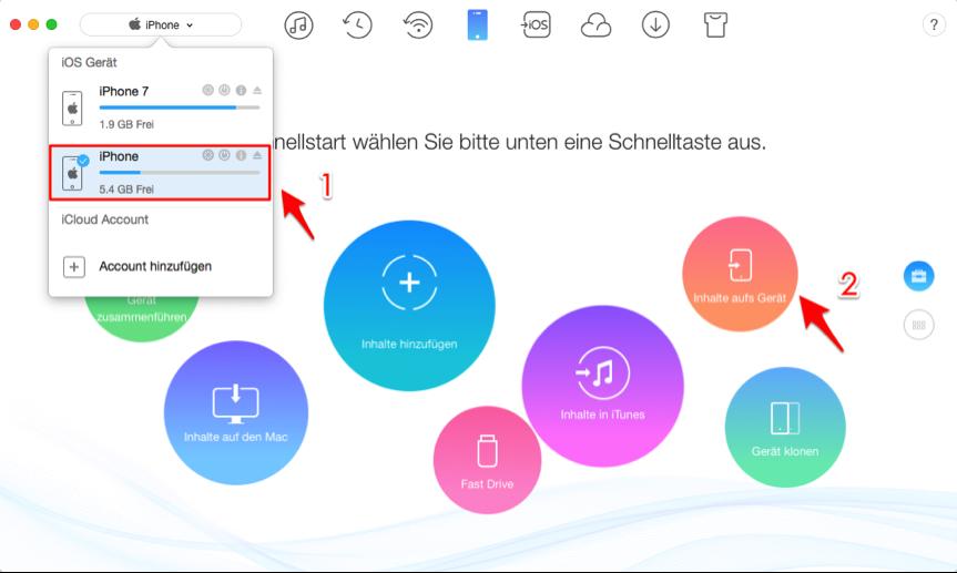 Kontakte von iPhone 6 auf neues iPhone 7 übertragen – Schritt 2