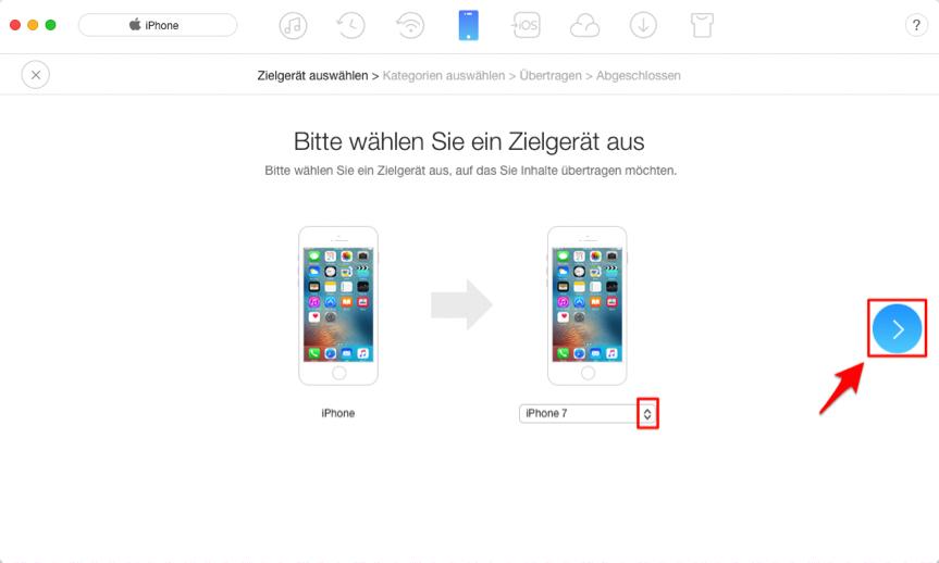 Kontakte von iPhone zum iPhone übertragen – Schritt 3
