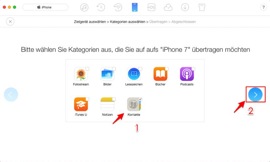 Alle Kontakte von iPhone 6 zu iPhone 7 auf einmal übertragen – Schritt 4