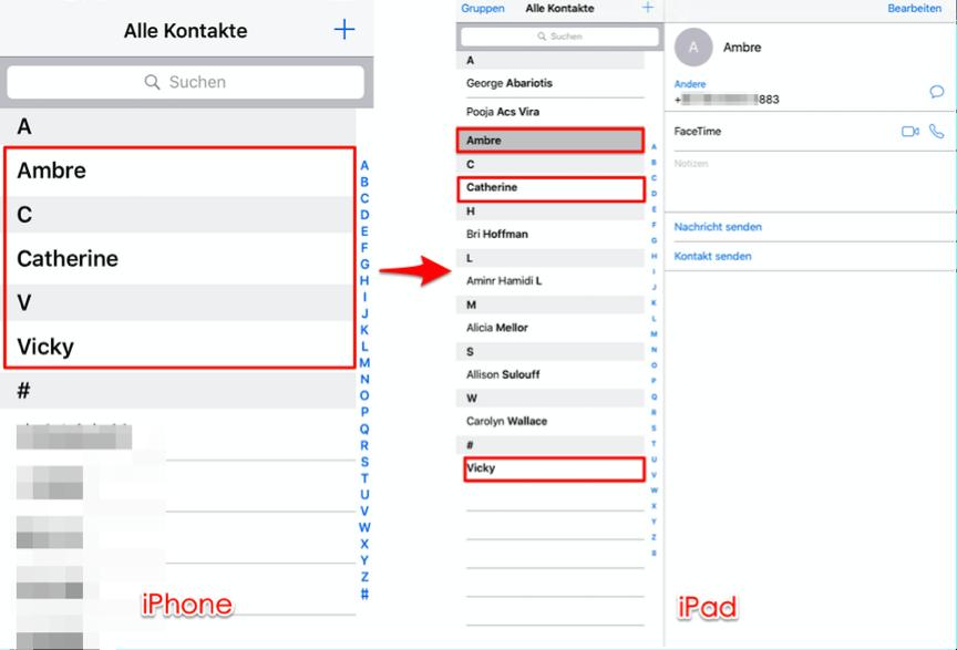 Kontakte von iPhone auf iPad – Schritt 3