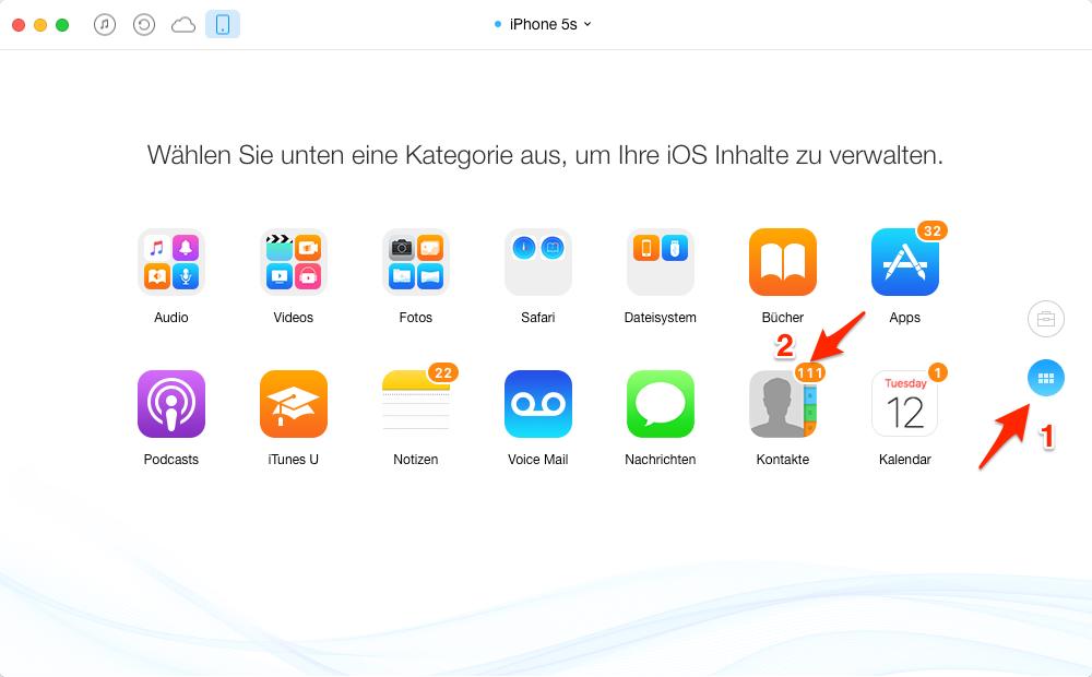 iPhone Kontakte am PC sichern – Schritt 3