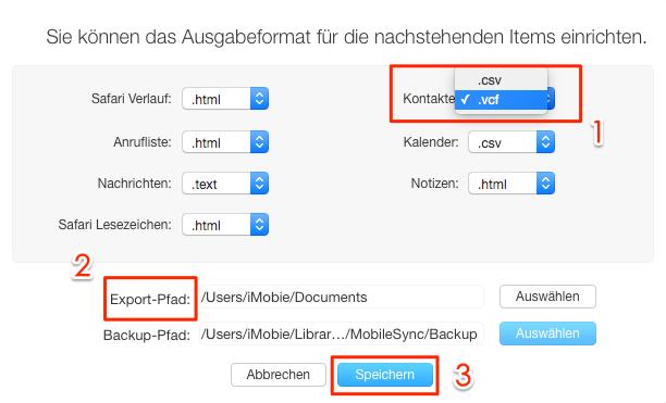 Format vom Kontakte einstellen und Export-Pfad auswählen