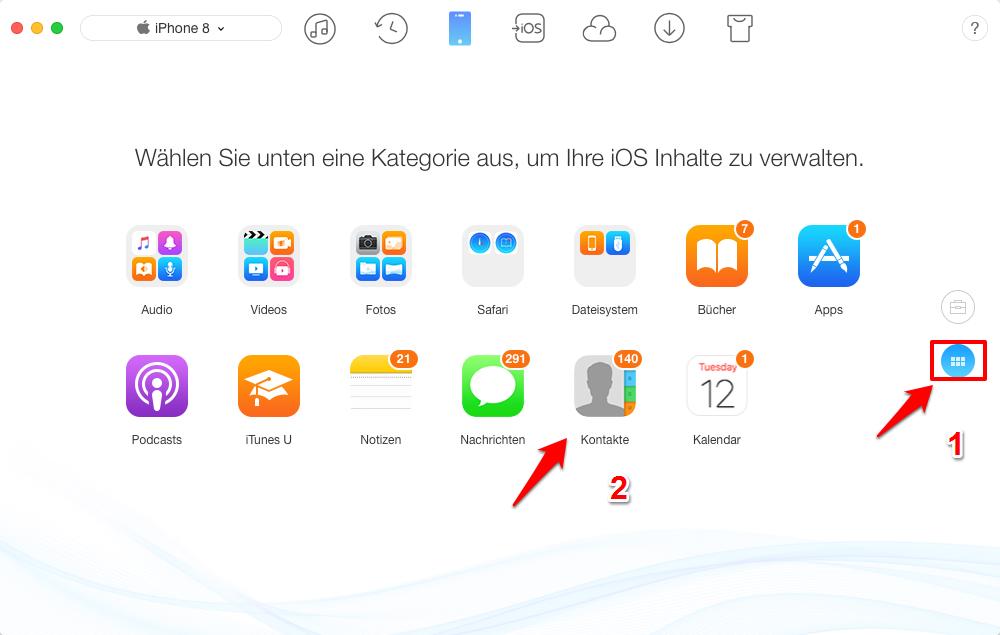 Kontakte vom iPhone auf Mac – Schritt 1
