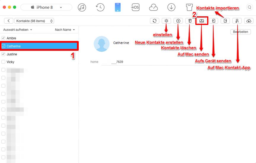 Kontakte von iPhone auf Mac mit AnyTrans kopieren – Schritt 2