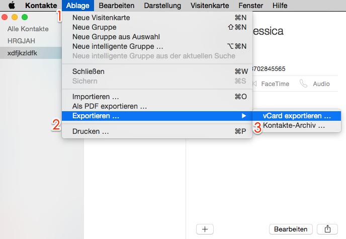 Kontakte aus Kontakte-App am Mac exportieren