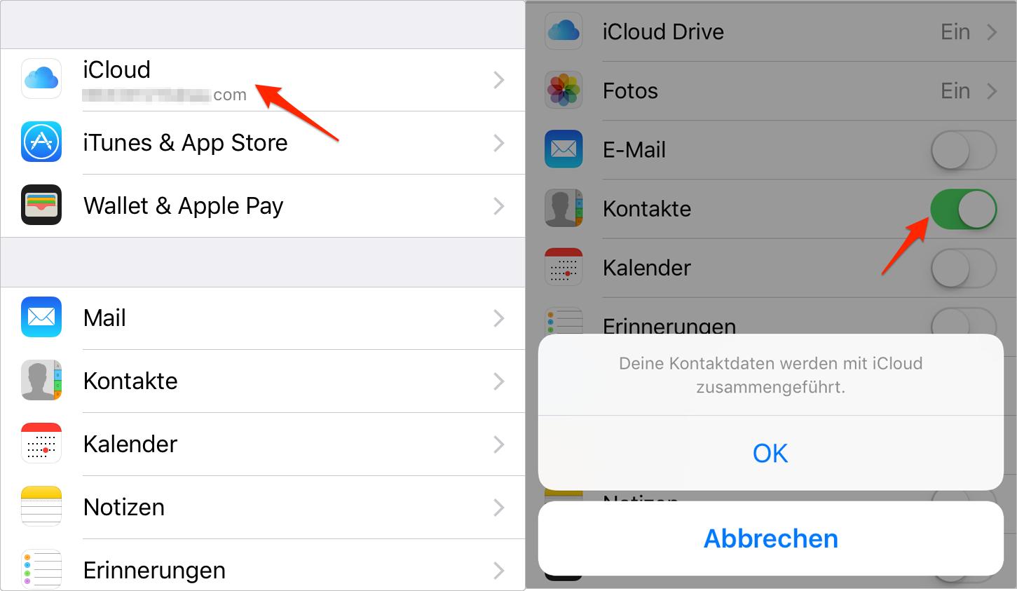 iCloud-Kontakte auf dem iPhone aktivieren – Schritt 1