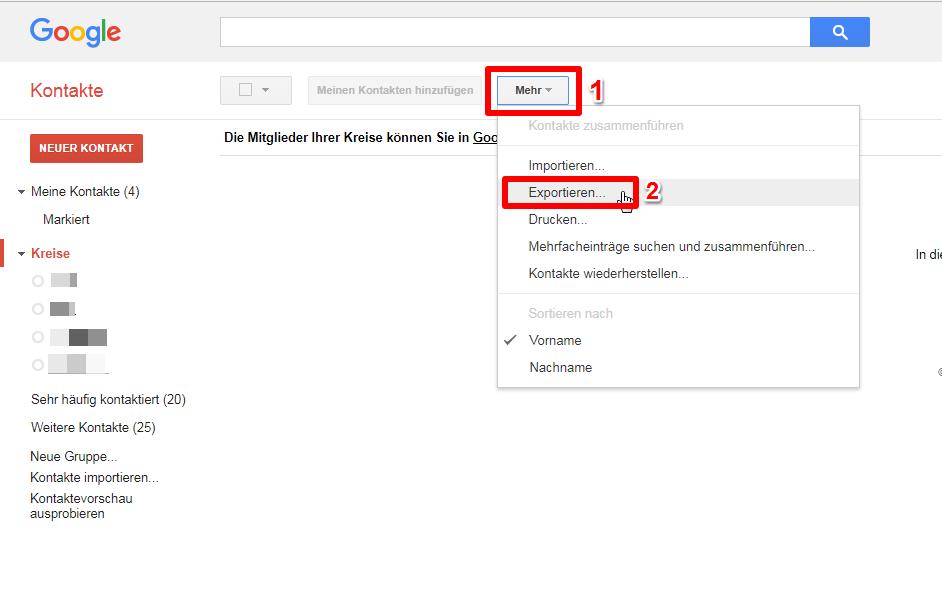 Kontakte vom PC auf Android - Schritt 1