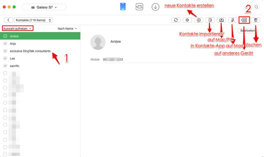 Kontakte von Android zu Android – Schritt 3