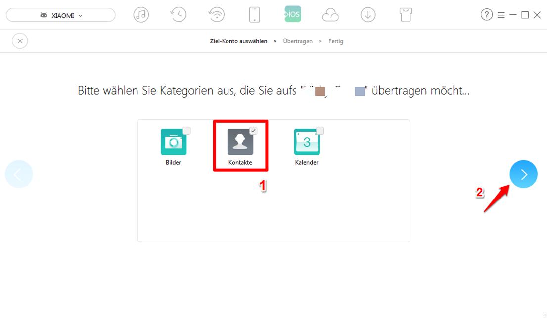Kontakte von Android auf iCloud – Schritt 4