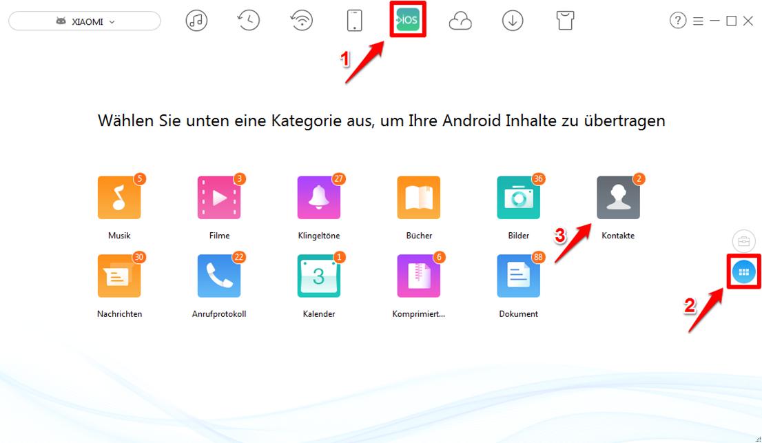 Kontakte von Android auf iCloud selektiv übertragen – Schritt 2