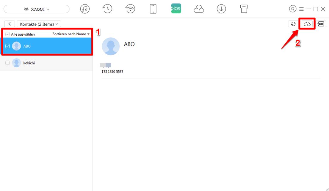 Android Kontakte auf iCloud selektiv übertragen – Schritt 3