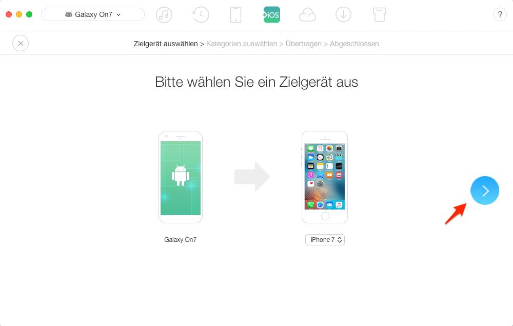Daten von Android auf iPhone übertragen – Schritt 2