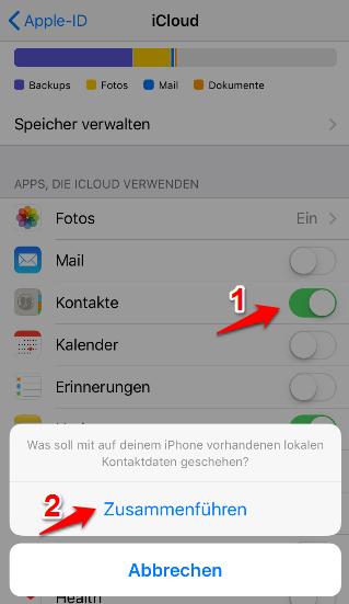 Kontakte von iCloud auf iPhone – Mit iCloud