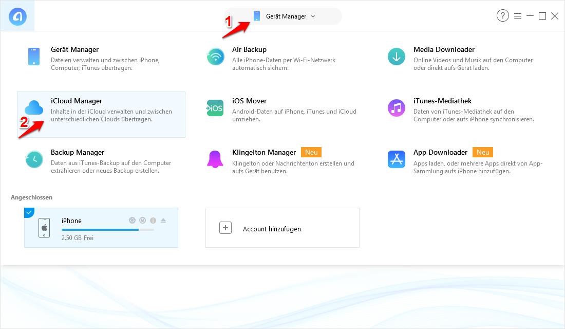 Kontakte von iCloud auf iPhone – Schritt 1