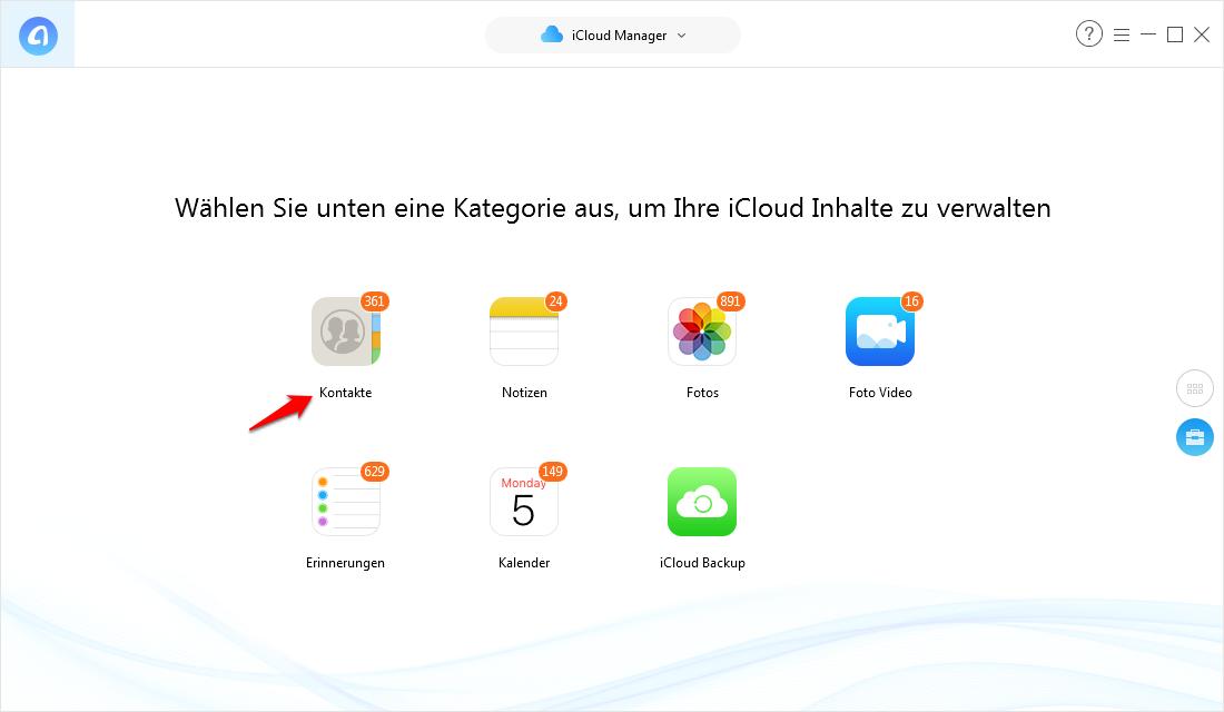 Kontakte von iCloud auf iPhone Xs/X/8/7/6/5 – Schritt 3