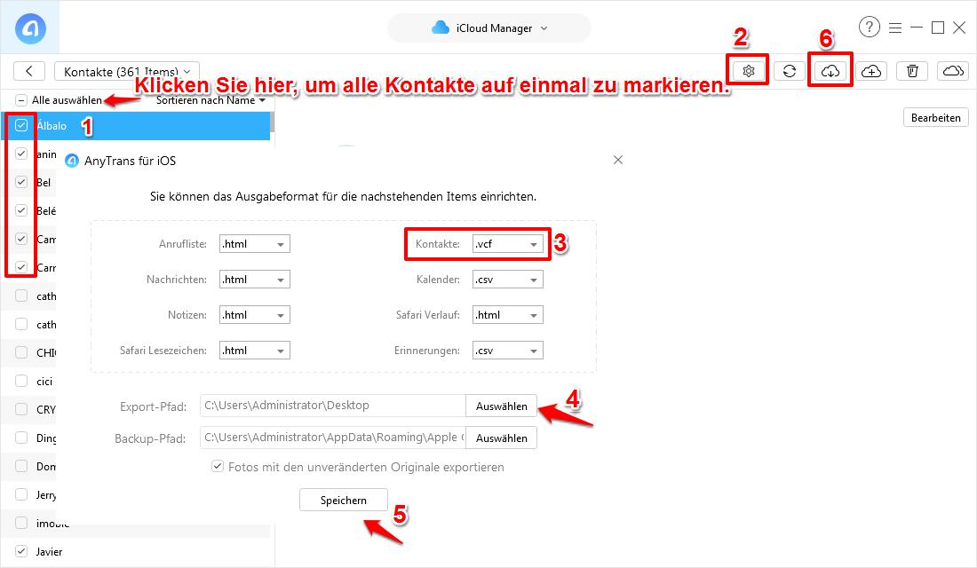 Kontakte von iCloud auf iPhone Xs/X/8/7/6 übertragen – Schritt 4