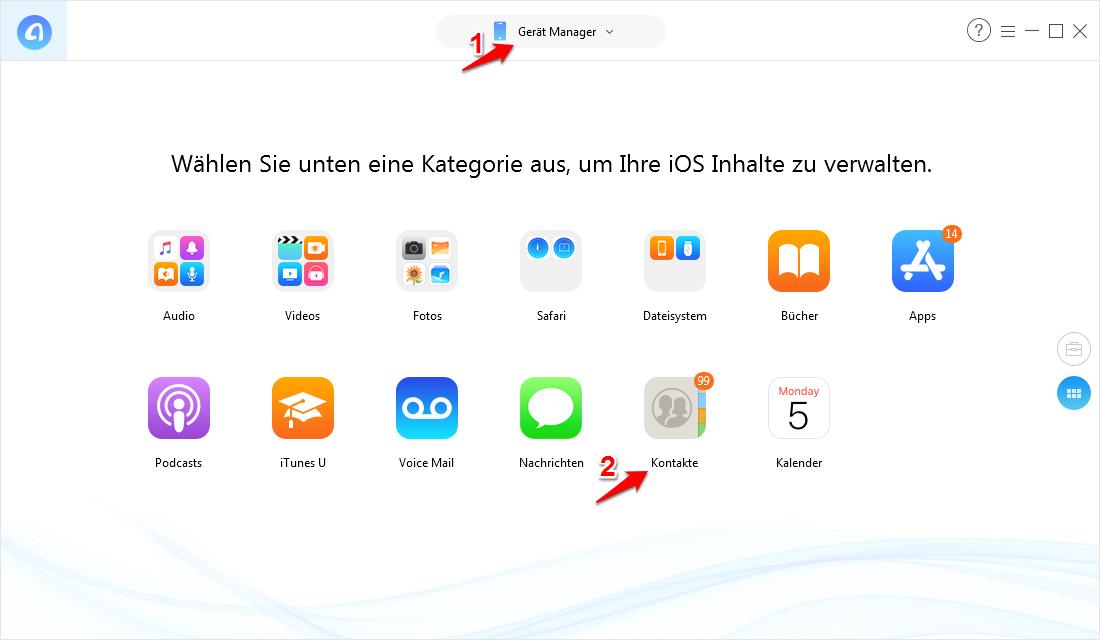 Kontakte von iCloud auf iPhone importieren – Schritt 5