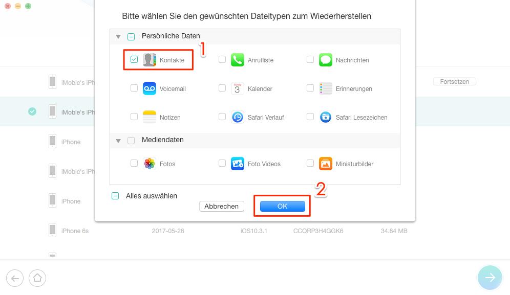 """Die Option von """"Kontakte"""" aktivieren – Schritt 4"""