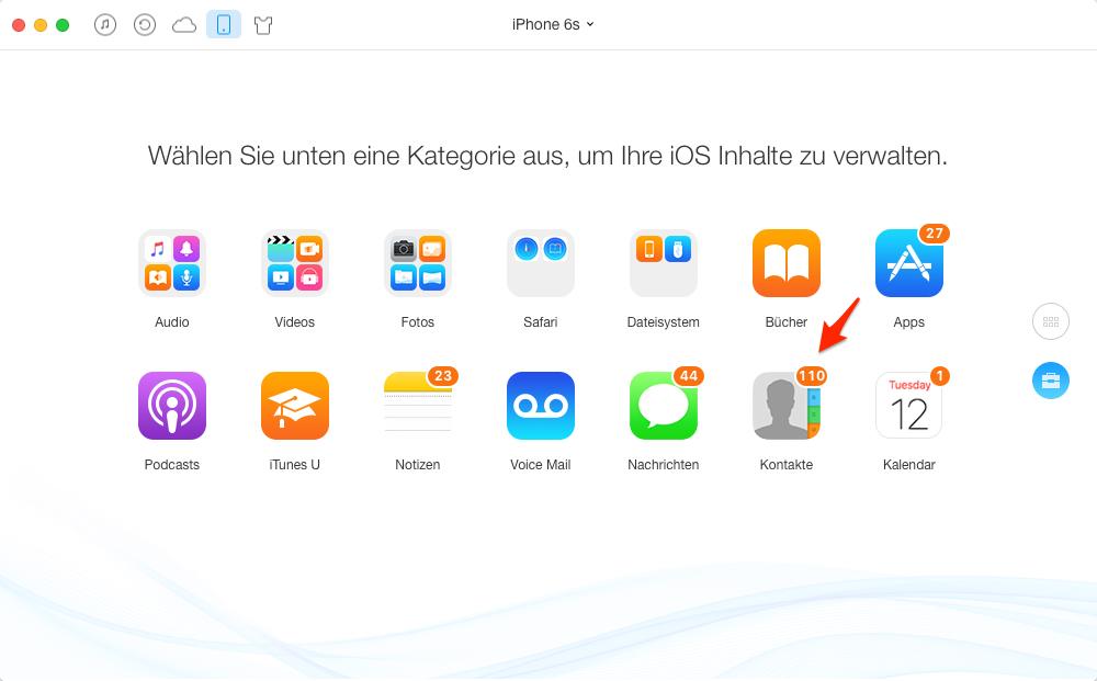 iPhone 6s Kontakte sichern – Schritt 2
