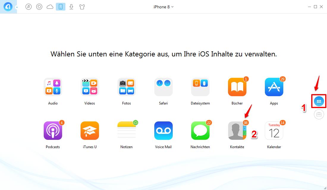 Kontakte von iPhone 8 auf PC – AnyTrans öffnen – Schritt 1