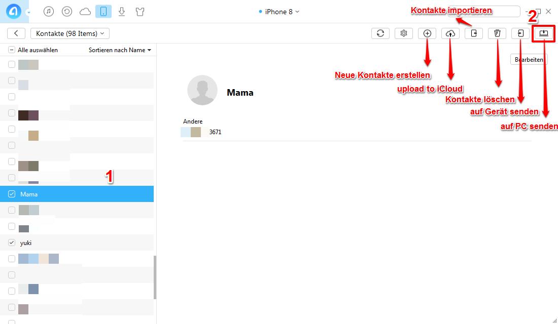 Kontakte vom iPhone 8 auf PC übertragen – Kontakte sichern – Schritt 2