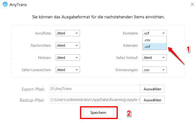 Kontakte vom iPhone 8 auf PC – das Format vom Kontakt wählen