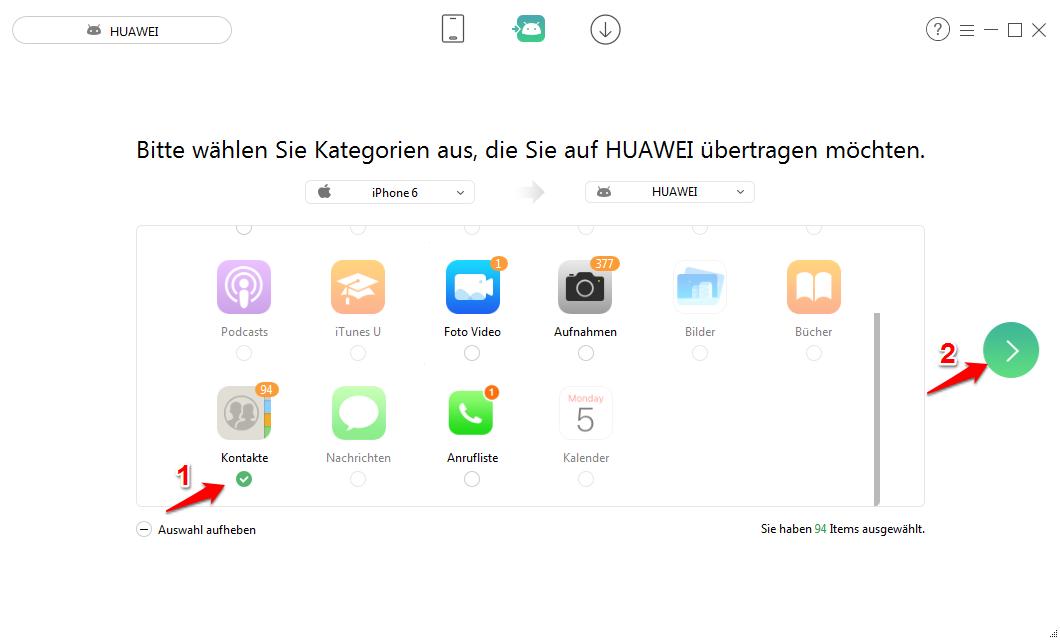 Kontakte von iPhone auf Huawei übertragen – Schritt 2
