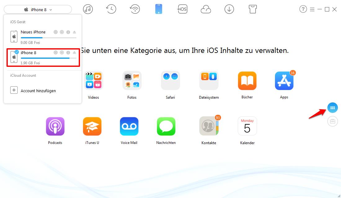 Kontakte von iPhone auf iPhone übertragen – Schritt 1