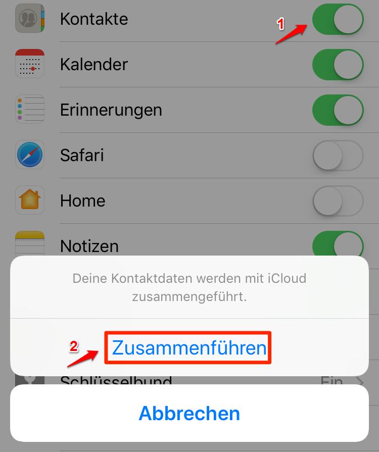 Kontakte auf iPhone X mit iCloud übertragen