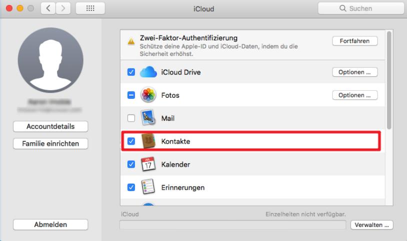 Kontakte vom iPhone auf Mac mit iCloud ziehen