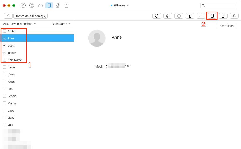 Kontakte vom alten iPhone auf iPhone 6/6s übertragen – Schritt 2