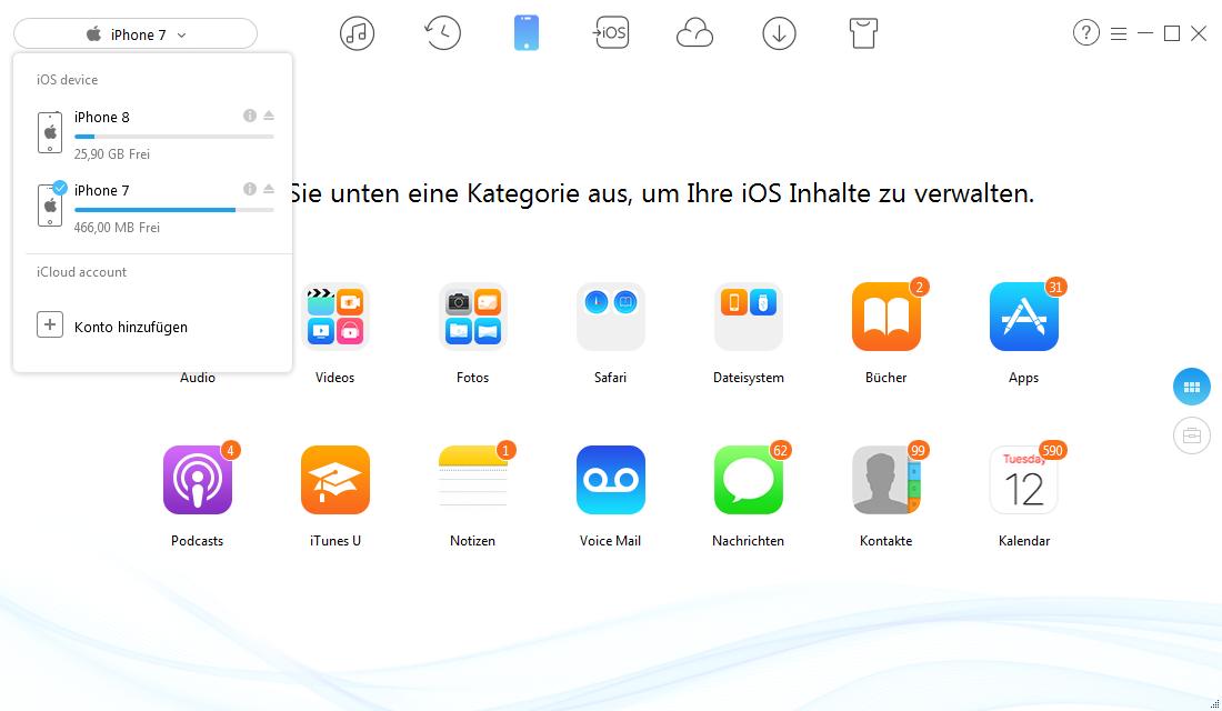 Kontakte von iPhone zu iPhone X/8 – AnyTrans öffnen – Schritt 1