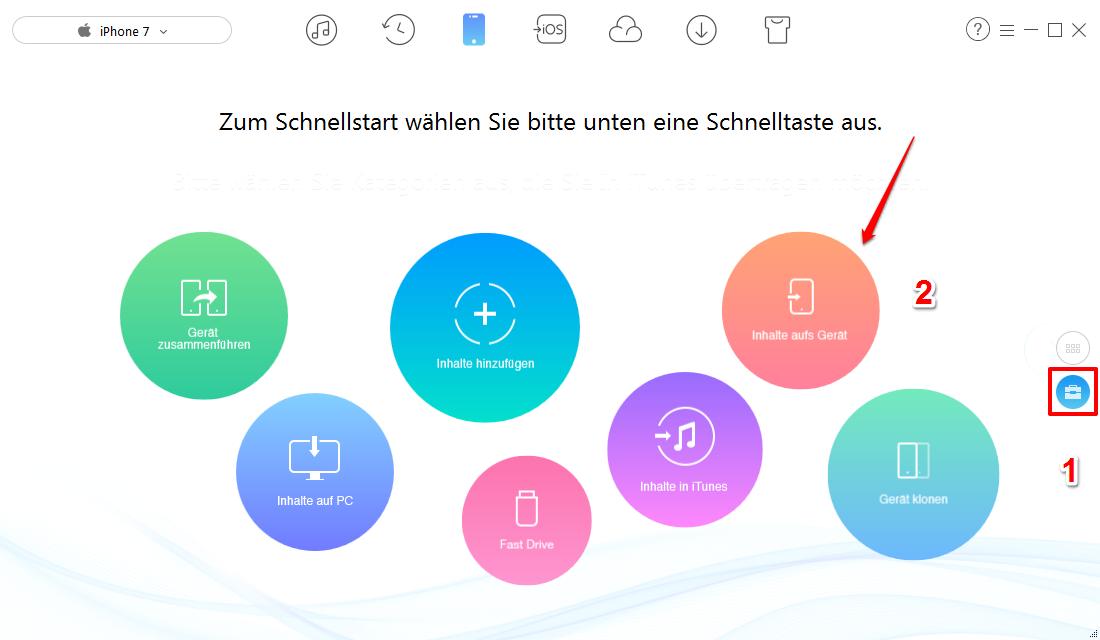 """Kontakte von iPhone auf iPhone X/8 – """"Inhalte aufs Gerät"""" wählen – Schritt 2"""