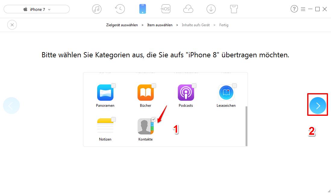 Kontakte vom iPhone auf iPhone X/8 – Kontakte übertragen – Schritt 3