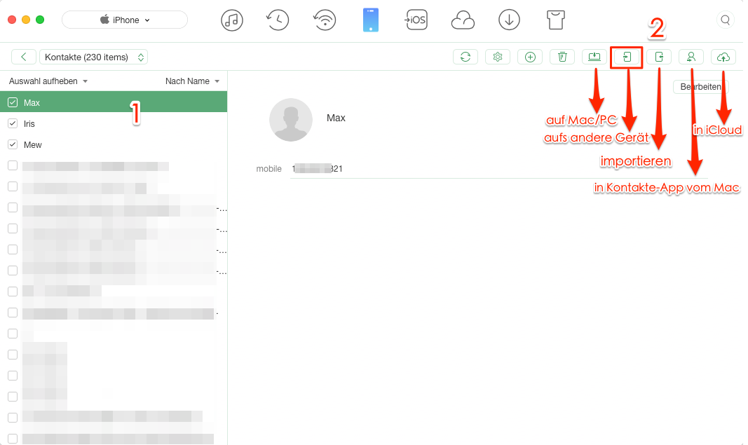 Kontakte von iPhone zu iPhone übertragen Bluetooth – Schritt 3