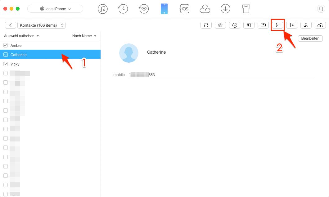 Kontakte vom iPhone zum iPhone mit 1-Klick – Schritt 2