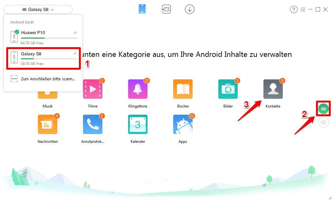 Kontakte von Samsung auf Huawei – Schritt 2
