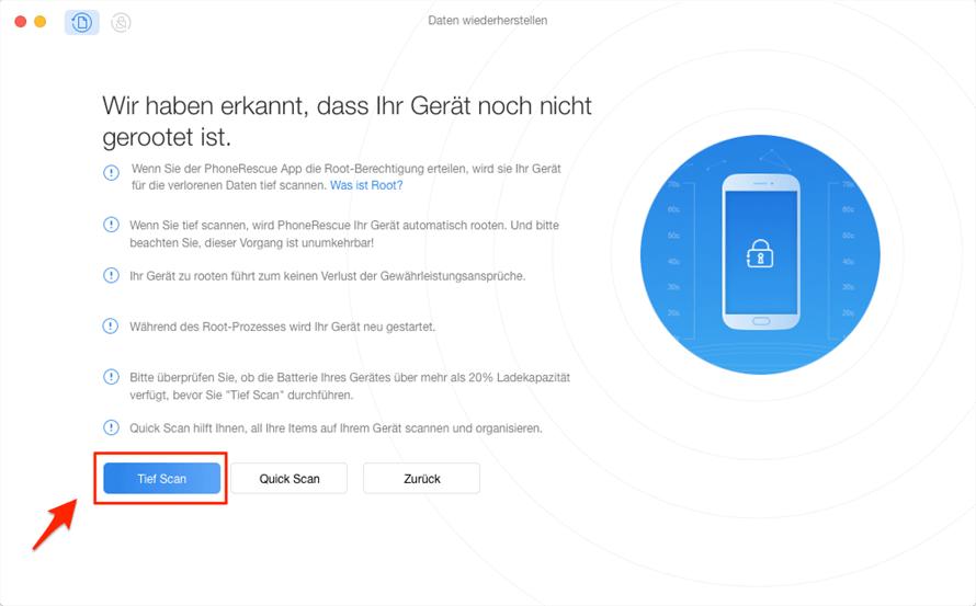 Kontakte wiederherstellen Android - Modus wählen