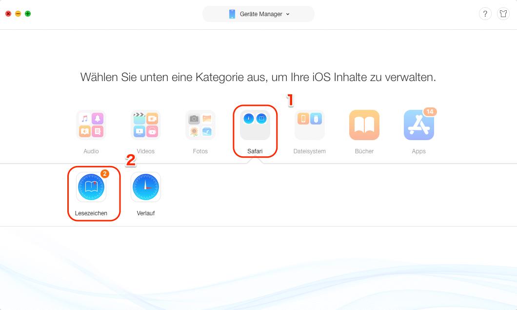 Lesezeichen in Safari auf iPhone/iPad importieren – Schritt 3