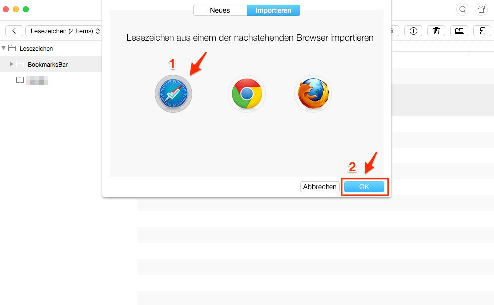 Safari Lesezeichen im iPad importieren – Schritt 4