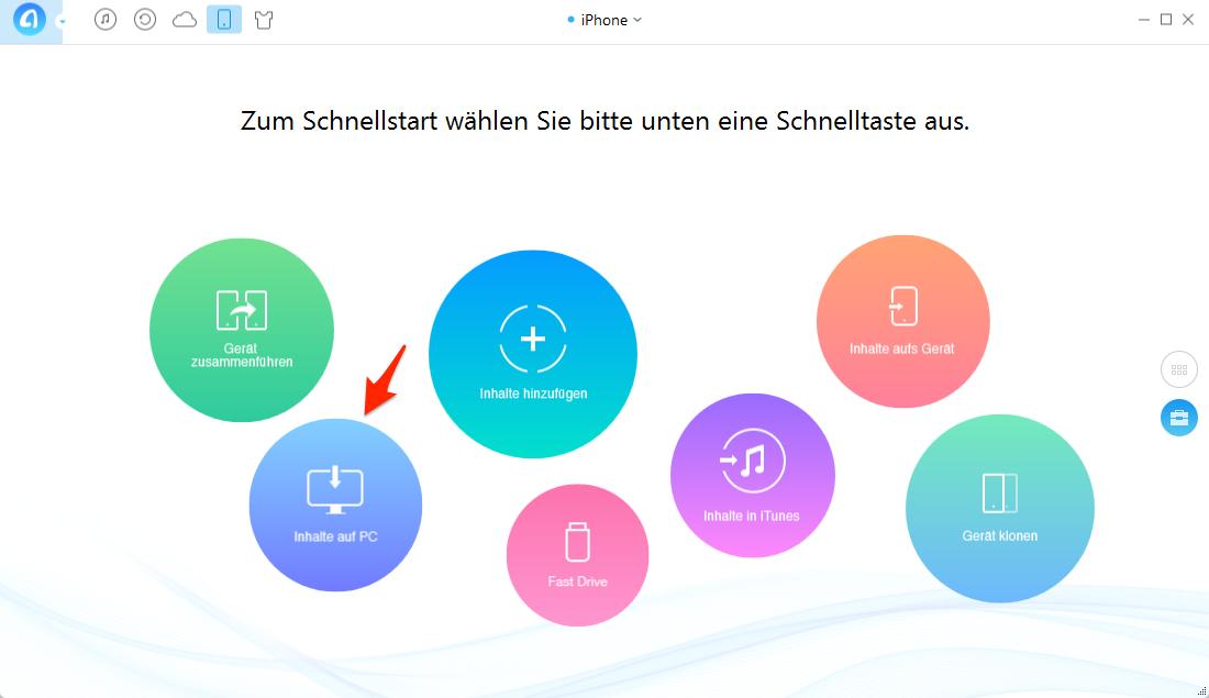Lieder vom iPhone auf PC – Schritt 1