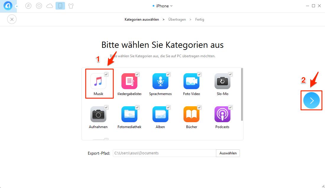 Alle Musik vom iPhone auf PC auf einmal übertragen – Schritt 2