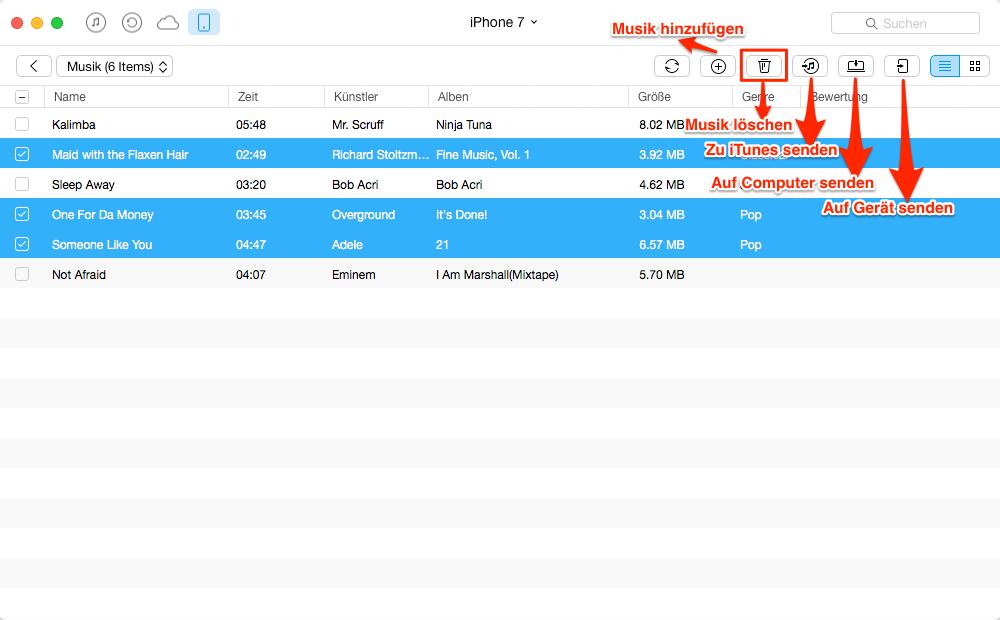 Menge der Lieder vom iPhone selektiv löschen – Schritt 4