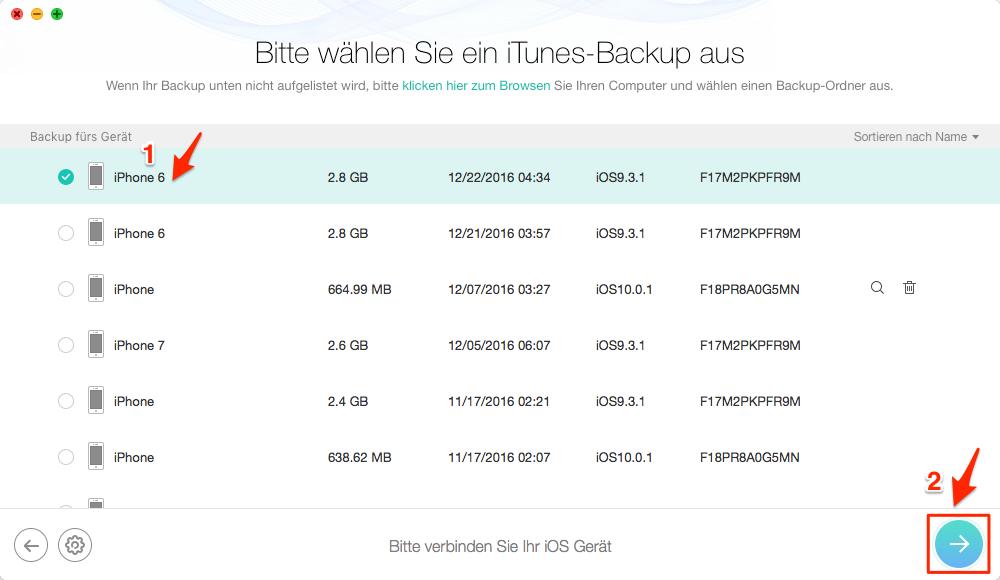 Gelöschte Line Chat aus iTunes-Backup wiederherstellen – Schritt 2