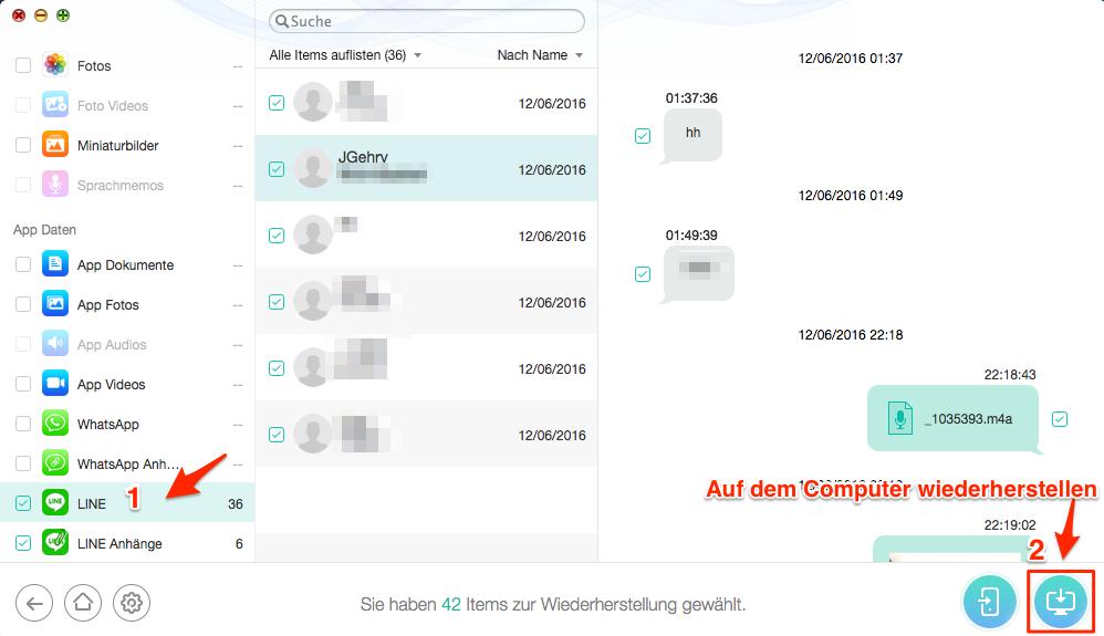 iPhone Line Chats aus Backup selektiv wiederherstellen – Schritt 3