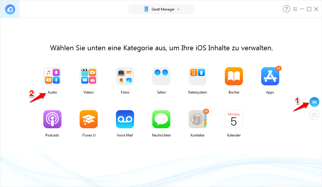 M4R-Datei auf iPhone übertragen ohne iTunes – Schritt 1